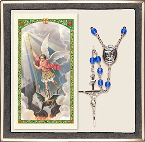 St Michael Marine Corp Rosary and Prayer Card Set. Silver Plate Rosary with 6mm Medium Sapphire Beads on a Prayer to St Michael - Defend Us in Battle Prayer Card. St. Michael Marine Corp Center