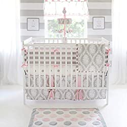 My Baby Sam Olivia Rose Bumper, Pink/Gray/White