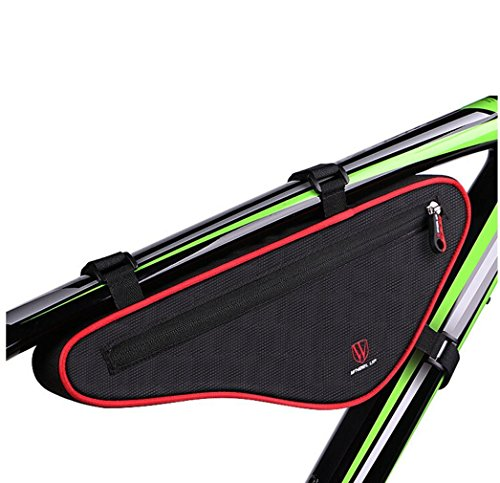 EKOOS Bike Frame Triangle Bag ,Waterproof Bicycle Bags Front Top Tube Saddle Frame Pouch Bag Sport Strap-on Tool Pack Storage Bag for Road Mountain Cycling (Black with Red)