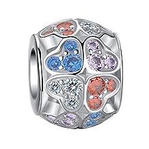 EleQueen 925 Sterling Silver Cubic Zirconia Enamel Owl Animal Bead Charm Fits Pandora