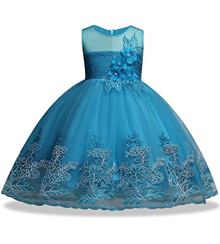 WEONEDREAM Big Dresses Girls Size 11 12 7-16 Wedding Formal Sash Ball Gown Party Prom Princess Pageant Elegant Bridesmaid Dresses Girls Teen Sleeveless Tank Knee Sundress Embroidery (Blue, 160)