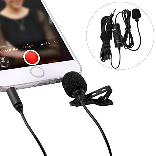 Lavalier Microphone Ultimate 3.5mm Lapel Mic Clip-on Video Recording Omnidirectional Condenser For Iphone Ipad Samsung Android Podcast Interview Youtube PC DSLR Camera Comcorder by pangshi