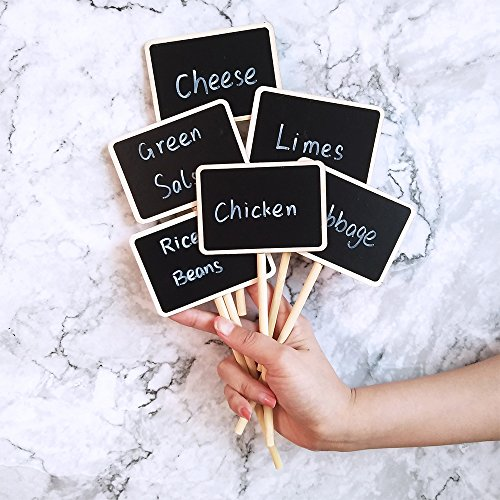 Supla 20 Pcs Mini Chalkboard Tabletop Signs with Stand Place Holders Party Wedding Message Memo Note Board Buffet Table Number Name Plant Signs Candy Bar Food Dessert Markers Table Setting Signs by Supla (Image #3)