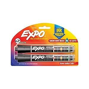 Expo Ink Indicator Dry Erase Whiteboard Marker Chisel Tip, Black, Pack of 2
