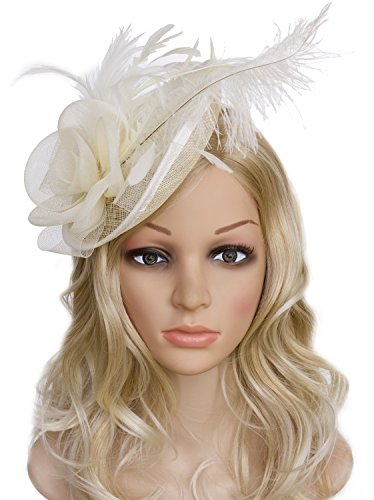 Horse Head Pattern A Costume (Vijiv Women Vintage Derby Fascinator Hat Pillbox Headband Feather Cocktail Tea Party, Beige, One Size)