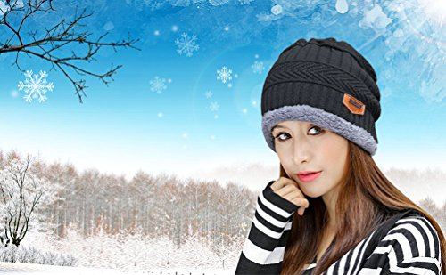 806c89641 HINDAWI Womens Black Slouchy Beanie Skull Cap Winter Windproof Hat Knitted  Warm Snow Ski Hats