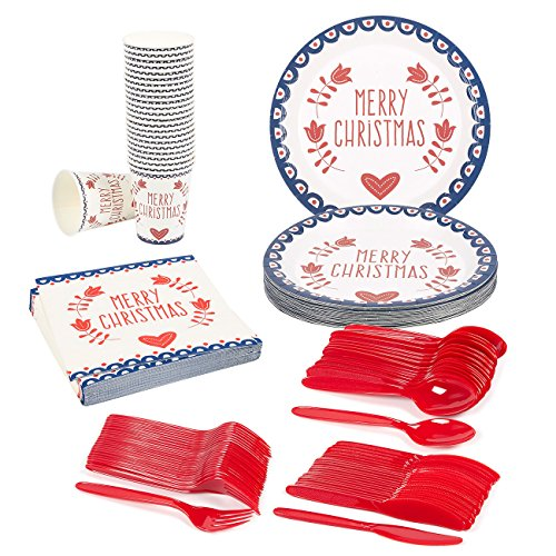 Disposable Dinnerware Set - Serves 24 - Merry Christmas and Hearts and Flowers Party Supplies - Includes Plastic Knives, Spoons, Forks, Paper Plates, Napkins, Cups (Disposable Christmas Plates)