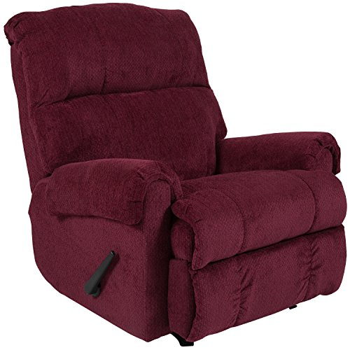 Flash Furniture Contemporary Kelly Burgundy Super Soft Textured Microfiber Rocker Recliner (For Contemporary Sale Chairs)