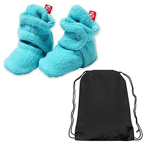 (Zutano Booties Unisex Baby Fleece Slipper Socks and Toy Bag- Pool Blue- 18 Mth)