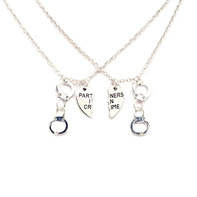 Amazon Com Partners In Crime Necklace For 2 Best Friends Gifts
