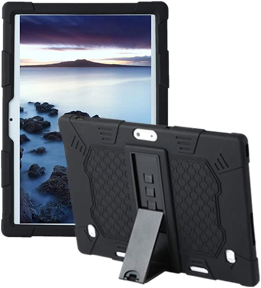 HminSen Case for YELLYOUTH 10.1 inch Android Tablet, Silicone Adjustable Stand Cover Compatible with Foren-Tek 10, Pavoma 10,Penen 10 Inch Android Tablet, ZONKO 10.1, KOOA 10 Inch Tablet (Black)
