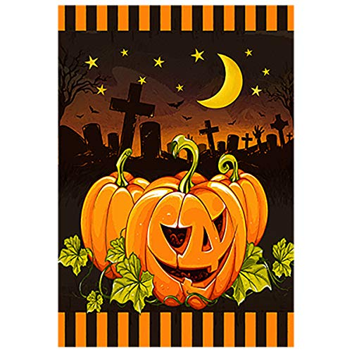 Morigins Happy Halloween Moonlight Pumpkin House Flag 28 x 40 Double Sided Fall Yard Decoration