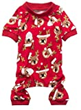 Rudolph Santa Claus Xmas Pet Clothes for Dog Pajamas Soft Christmas PJS, Back Length 16'' Medium Red