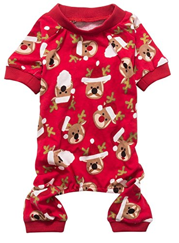Rudolph Holiday Santa Claus Xmas Cotton Pet Dog Pajamas Jumpshit for Medium Dogs, Back Length 20