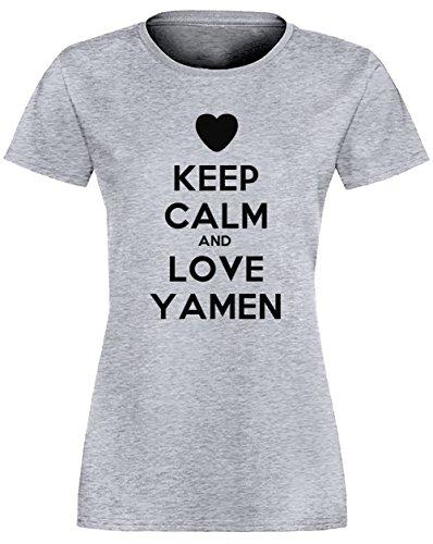 Keep Calm And Love Yamen Gris Coton Femme T-shirt Col Ras Du Cou Manches Courtes Grey Women's T-shirt