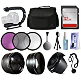 Starter Accessories Package for Nikon D5500 D5300 D5200 D5100 D3300 D3200 D3100 includes Stabilizer + Large Case + 32GB Memory + Filters (UV-CPL-FLD) + 2.2x Telephoto + 0.43x Fisheye + Hood