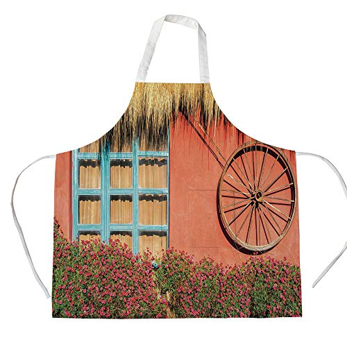 - iPrint Cotton Linen Apron,Two Side Pocket,Barn Wood Wagon Wheel,Country House in Ecuador Red Wall Window Summer Flowers Straw Roof Decorative,Multicolor,for Cooking Baking Gardening