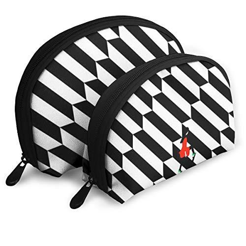 (OLOSARO Cosmetic Bag Striped Ladder Girl Art Painting Travel Makeup Pencil Pen Case Multifunction Storage Portable - 2 Piece Set)