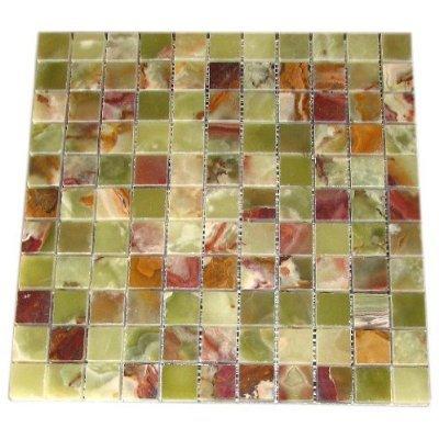 4x4 Sample of Green Onyx 1x1 Polished Mosaic Tiles