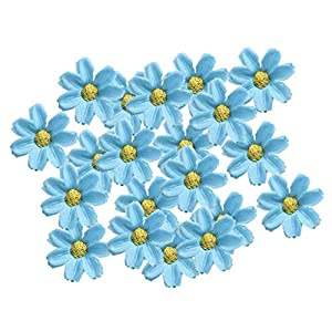KODORIA 100pcs Artificial Flower Heads Silk Daisy Flower Heads for DIY Baby Shower, Home Party Wedding Favor Decoration DIY Craft Fake Flowers - Blue 120