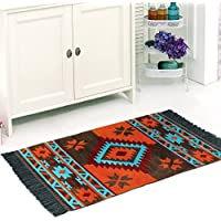 Traditional Area Rug, 2x4 feet, 100% Velvet Cotton, Perfect for Kitchen, Bathroom, Study Room, Living Room, Porch, (Brown-Orange-Turquoise)