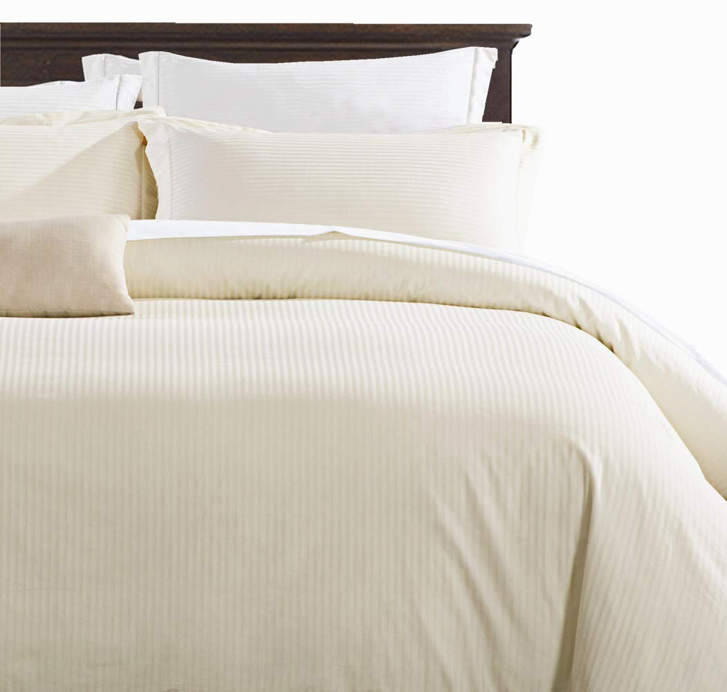 100% Damask Cotton Duvet Cover , Ivory Duvet Cover King Size, 400 Thread Count Sateen Weave, Luxury Pinstripe Pattern Royal Hotel Style Bedding, Silky Soft Breathable Durable and Skin Friendly