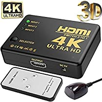3-Port HDMI Switch, TenTenCo Full HD1080p, 3D with IR Remote, Supports 4K HDMI Switcher(Black)