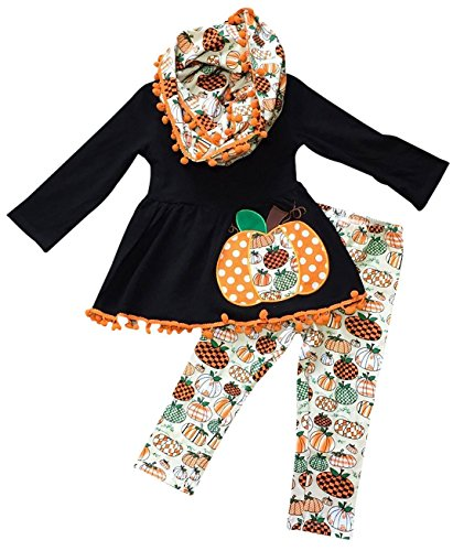 Little Girls' 3 Pieces Set Halloween Pumpkin Pie Top Pants Scarf Pant Set Black 4 M (P400498P) for $<!--$22.99-->
