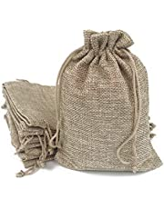 50PCS Burlap Bags with Drawstring Gift Jute bags Included Cotton Lining (6.7 X 9 Inch , #08 Navy)