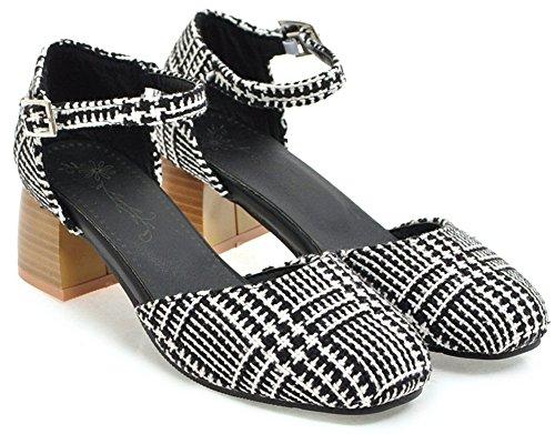 Idifu Kvinna Mode Fotled Spänne Rund Tå Låg Topp Mitten Chunky Klack Arbete Pumpar Skor Black1