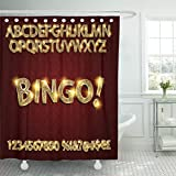 Emvency Shower Curtain Yellow Gold Bingo Golden Glowing Alphabet and Numbers on Dark for Your Graphic Design Letter Casino Waterproof Polyester Fabric 60 x 72 inches Set with Hooks