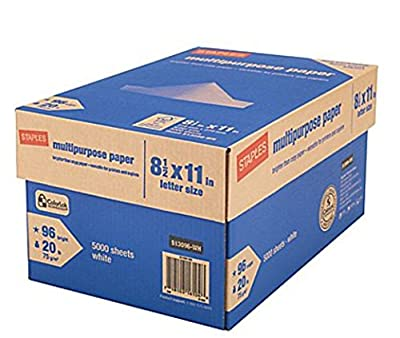 "Staples Copy Paper, Multipurpose, 8 1/2"" x 11"", 96 Brightness (10 Ream Case) (20 Cases / 100,000 Sheets)"