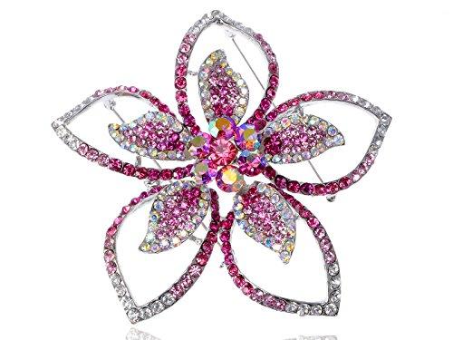 Lily Floral Flower Pink Crystal Rhinestone Fashion Statement Hawaiian Brooch Pin