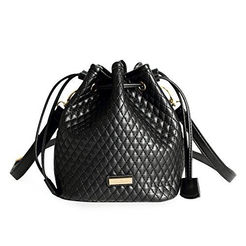 MAMONA Ladies Crossbody Handbags Leather Drawstring Bucket Bag for Women LHB18501BK