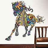 Decals Design 'Running Horse with Art' Wall Sticker (PVC Vinyl, 90 cm x 60 cm)