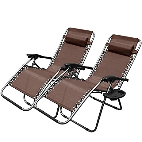 adjustable reclining lounge chairs with cup holder brown set of 2