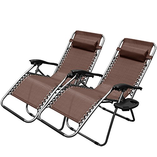 Amazon.com  XtremepowerUS Adjustable Reclining Lounge Chairs with Cup Holder Brown Set of 2  Garden u0026 Outdoor  sc 1 st  Amazon.com : reclining lounge chairs - islam-shia.org
