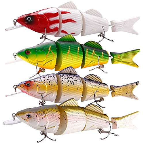 Musky Fishing Tackle - Sougayilang Fishing Lures 4 Segment Lifelike Hard Lure Crank Baits Swimbait for Bass Pike Musky Walleye Trout Salmon and Striper (5.5in 0.99oz Pack of 4)