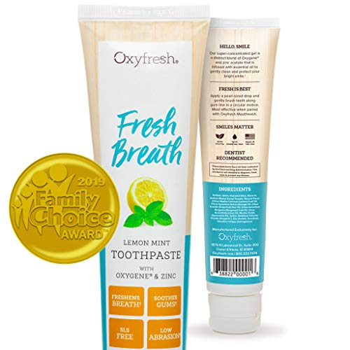 Oxyfresh Maximum Fresh Breath Lemon Mint Toothpaste - Low Abrasion, Long Lasting Fresh Breath - Dentist Recommended