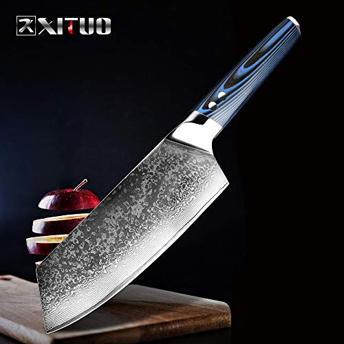 Best Quality Kitchen Knives Damascus Steel Chef Knives 67 Layer Japanese VG10 Damascus Kitchen Gyuto Knife Handmade Sushi Slicing Knife Blue g10Handle