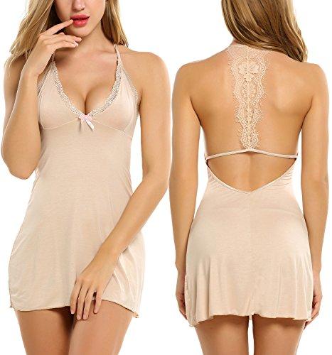 Avidlove Sleepwear Womens Chemise Sexy Nightie Full Slip Lace Babydoll Dress, Apricot, Small   -
