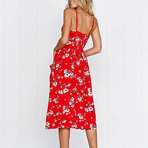 Doris Vêtements Fines Bretelles Bohème Floral Robes D'été Des Femmes Bouton Robe Midi Avec Des Poches 860 Rouge