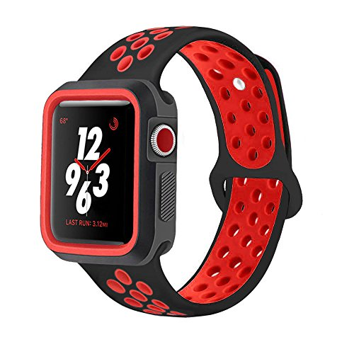 KINPEI Compatible with Apple Watch Series 1/2/3 Nike Band 38mm 42mm with Case, Soft Silicone Sport Replacement iWatch Band & Shock-Proof Protective Case (Black/Red, 42mm M/L)