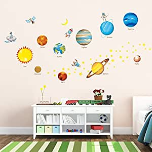 Decowall DW 1307 Planets In The Space Kids Wall Decals Wall Stickers Peel  And Stick