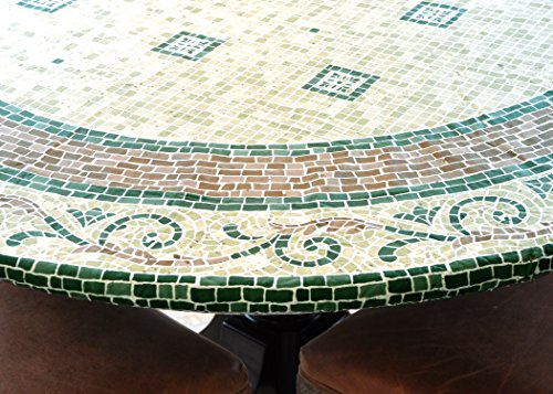 (LAMINET Elite Elastic Edged Print Table Pad - Mosaic Green - Large Round - Fits Tables up to 45