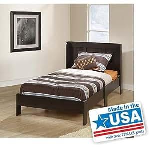modern twin platform bed frame with headboard bedroom furniture cinnamon cherry