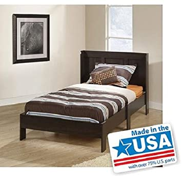 Modern Twin Platform Bed Frame With Headboard Bedroom Furniture, Cinnamon  Cherry