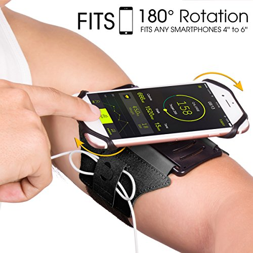 VUP Running Armband for iPhone 11 Pro Max X XR XS 8 7 6 6s Plus,Galaxy S10 S9 S8 Plus, Note 9/8/5/4,Google Pixel 3/2 XL,180Rotatable with Key Holder Phone Armband for Hiking Biking WalkingBlack)