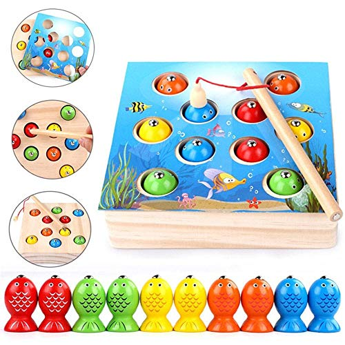 Fishing Game Magnetic, Solid Wood 2 in 1 Puzzle Early Childhood Education Fish Magnets Catching Toys - Baby Cognition Match Brain Game Gift for Toddlers and Kids ()