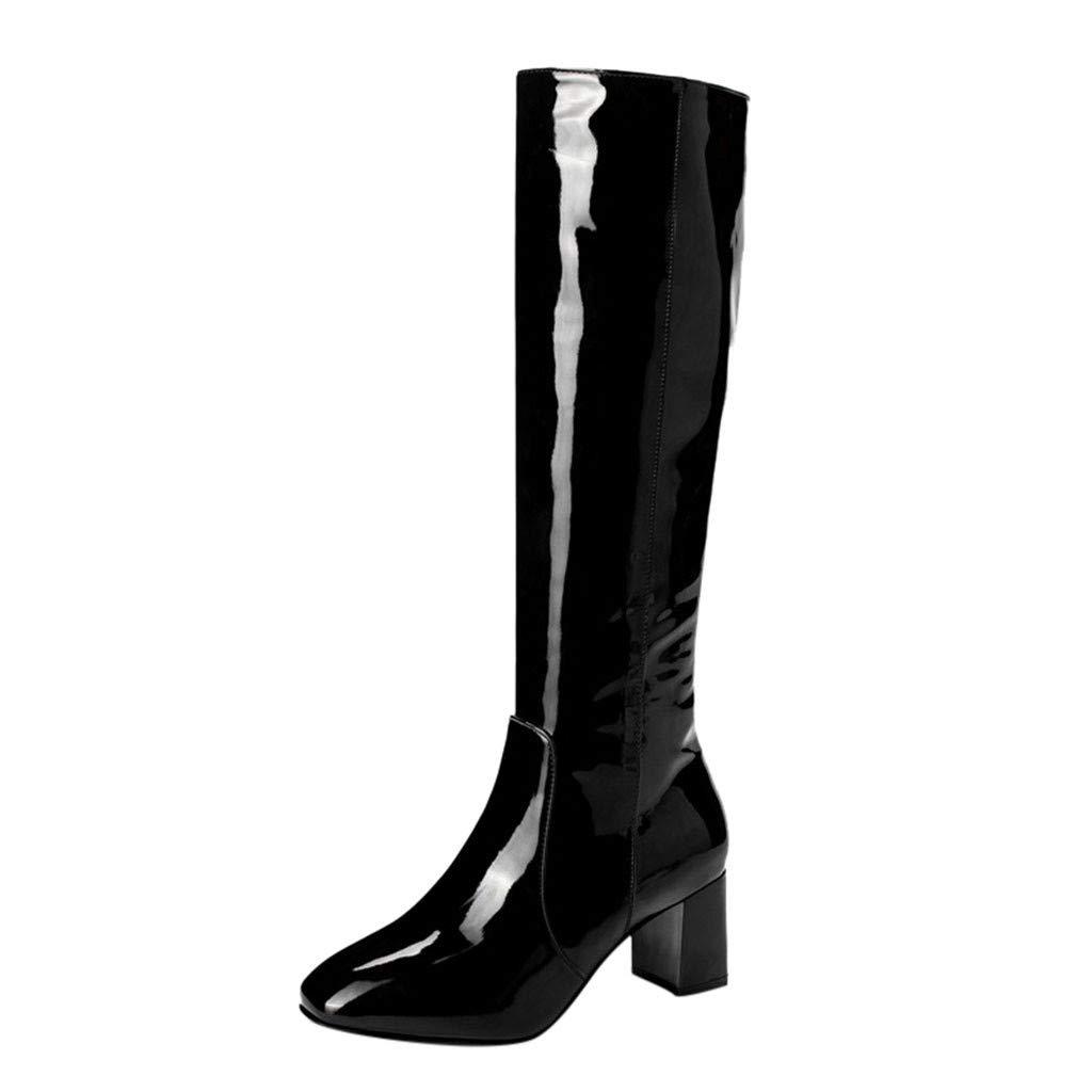 Kauneus Womens Glossy Leather Knee High Boot Chunky Mid Heel Round Toe Side Zipper Solid Fashion Boots Black by Kauneus Fashion Shoes